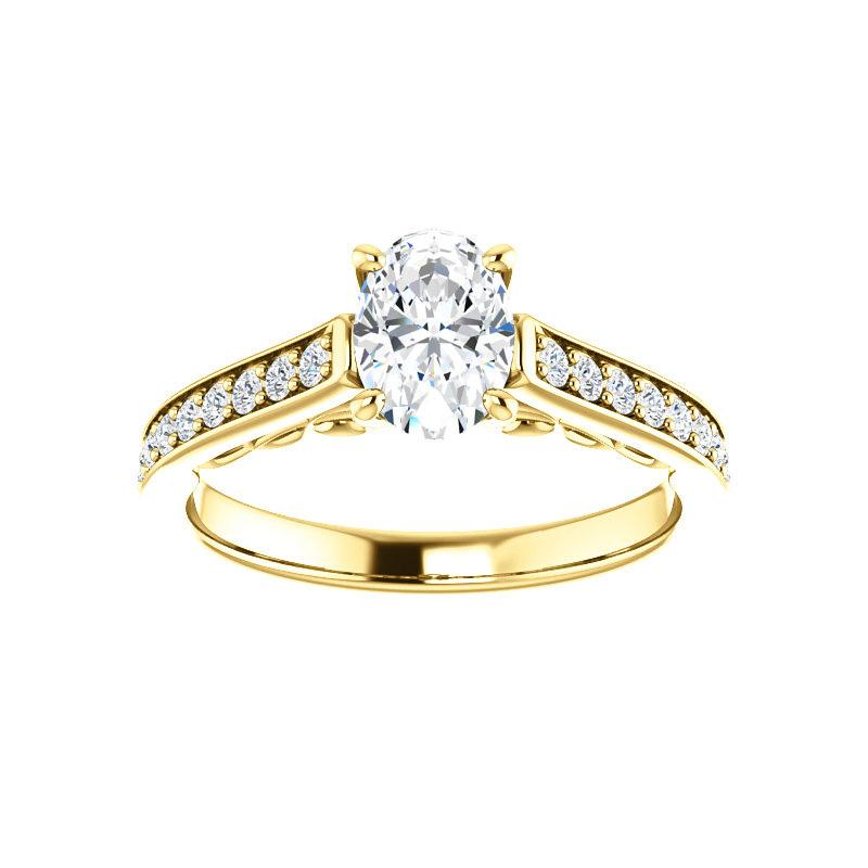 The Andrea Moissanite oval diamond engagement ring solitaire setting yellow gold