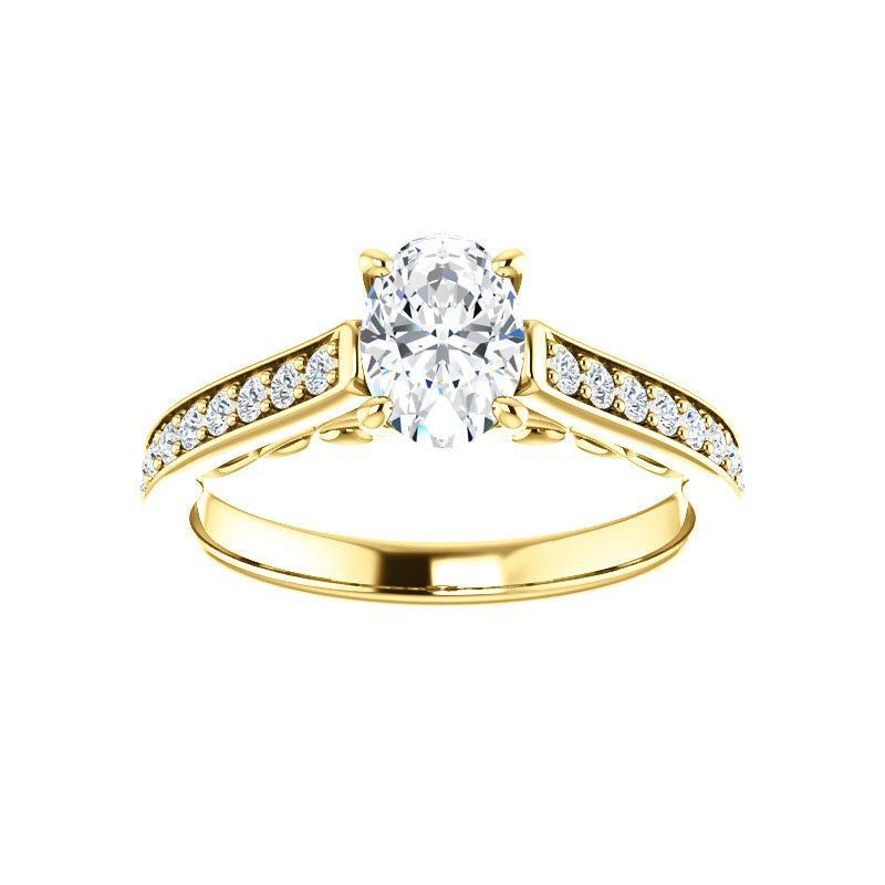 The Andrea Moissanite oval moissanite engagement ring solitaire setting yellow gold