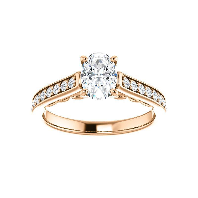 The Andrea Moissanite oval moissanite engagement ring solitaire setting rose gold