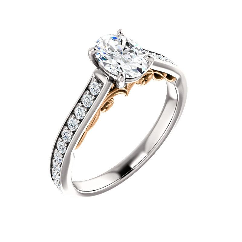 The Andrea Moissanite oval diamond engagement ring solitaire setting white gold and rose gold accent