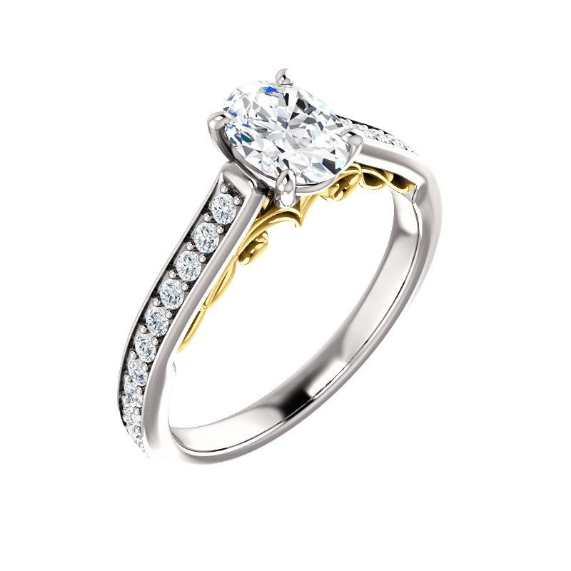 The Andrea Moissanite oval diamond engagement ring solitaire setting white gold and yellow gold accent