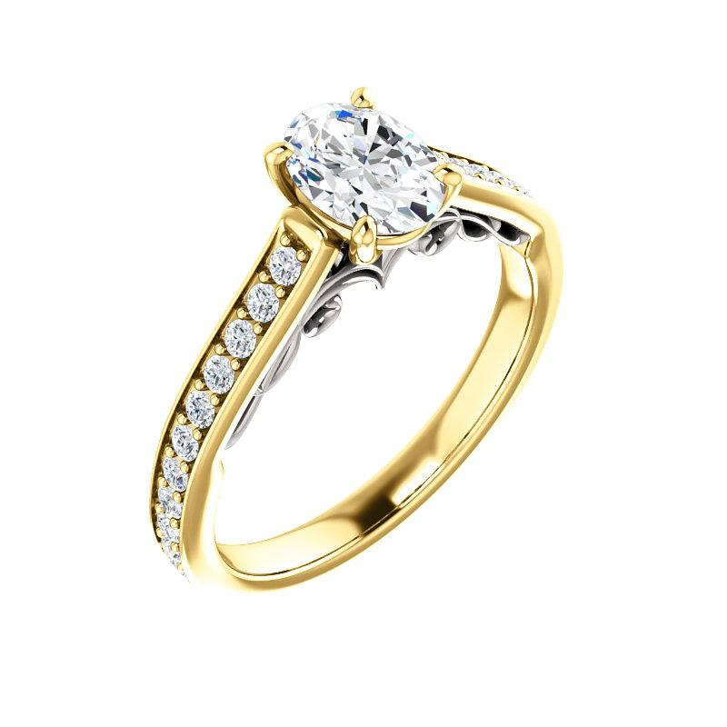 The Andrea Moissanite oval diamond engagement ring solitaire setting yellow gold and white gold accent