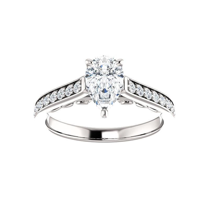 The Andrea Moissanite pear diamond engagement ring solitaire setting white gold