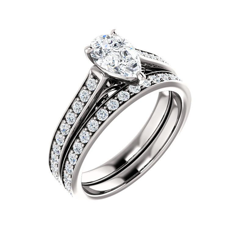 The Andrea Moissanite pear diamond engagement ring solitaire setting white gold with matching band