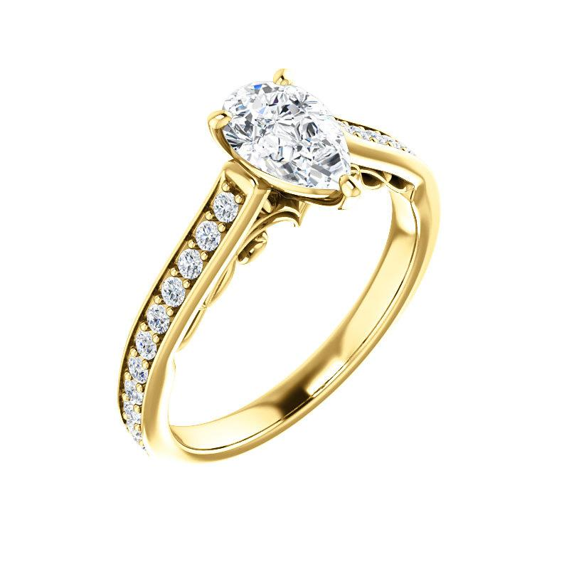 The Andrea Moissanite pear diamond engagement ring solitaire setting yellow gold