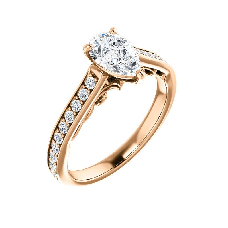 The Andrea Moissanite pear diamond engagement ring solitaire setting rose gold