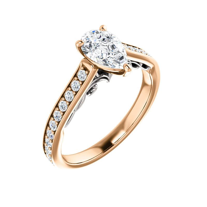 The Andrea Moissanite pear diamond engagement ring solitaire setting rose gold and white accent