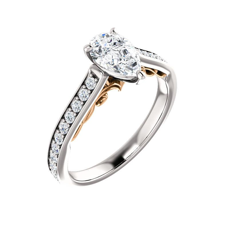 The Andrea Moissanite pear diamond engagement ring solitaire setting white gold and rose gold accent