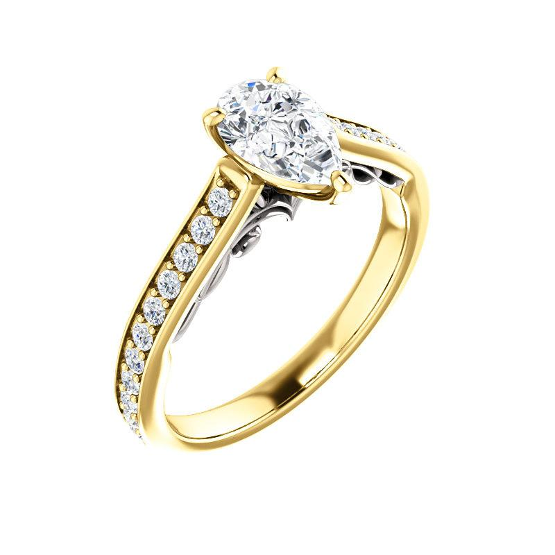 The Andrea Moissanite pear diamond engagement ring solitaire setting yellow gold and white gold accent