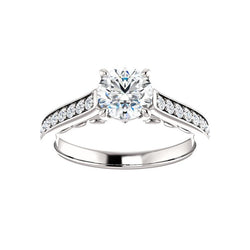 The Andrea Moissanite round diamond engagement ring solitaire setting white gold