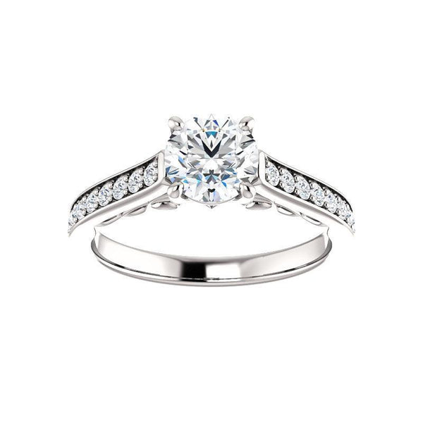 The Andrea Moissanite round moissanite engagement ring solitaire setting white gold
