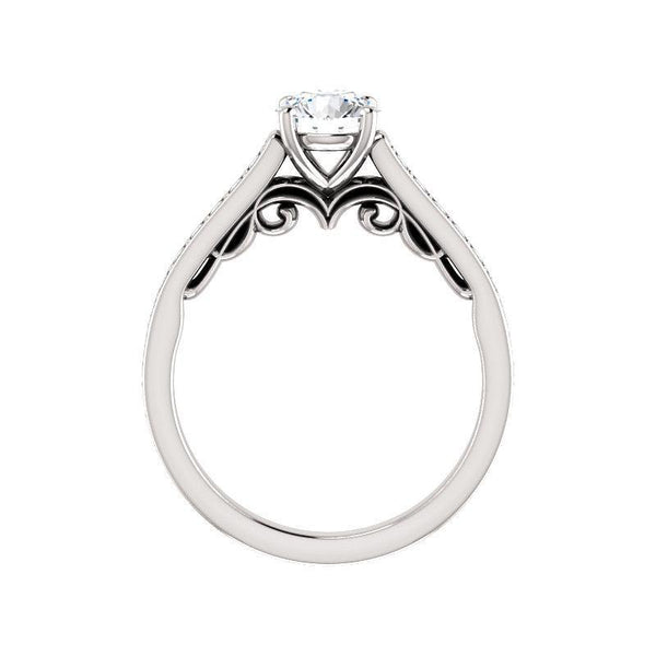 The Andrea Moissanite round moissanite engagement ring solitaire setting white gold side profile