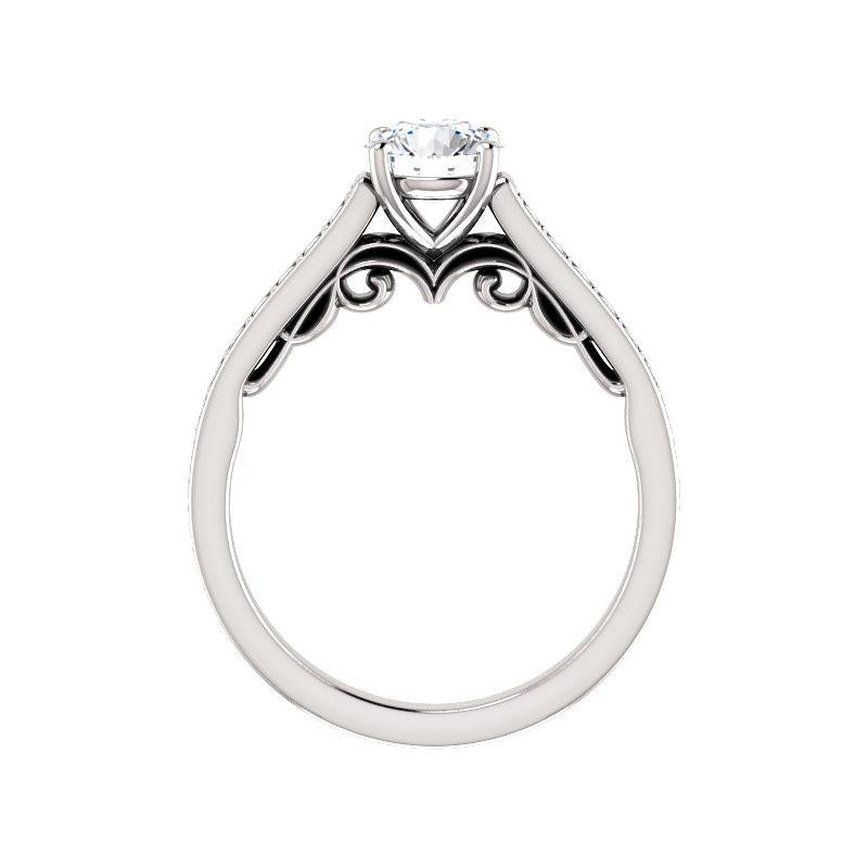 The Andrea Moissanite round diamond engagement ring solitaire setting white gold side profile
