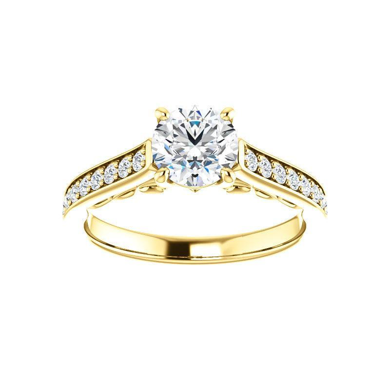 The Andrea Moissanite round moissanite engagement ring solitaire setting yellow gold