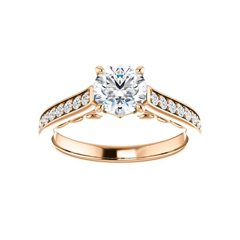 The Andrea Moissanite round moissanite engagement ring solitaire setting rose gold