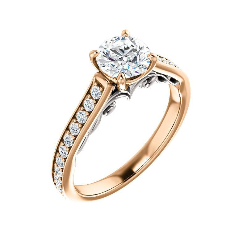 The Andrea Moissanite round moissanite engagement ring solitaire setting rose gold and white accent