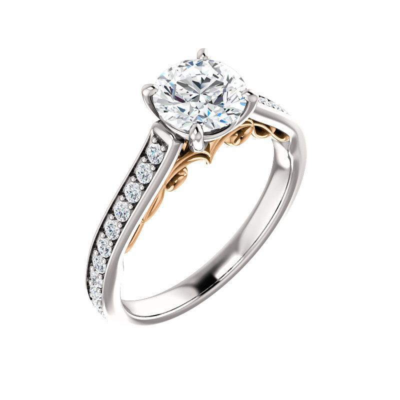 The Andrea Moissanite round moissanite engagement ring solitaire setting white gold and rose gold accent