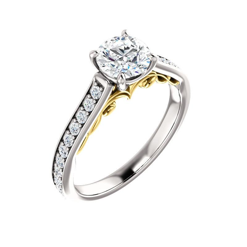 The Andrea Moissanite round diamond engagement ring solitaire setting white gold and yellow gold accent