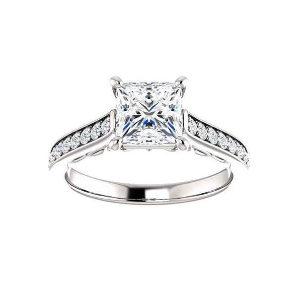 The Andrea Moissanite princess moissanite engagement ring solitaire setting white gold