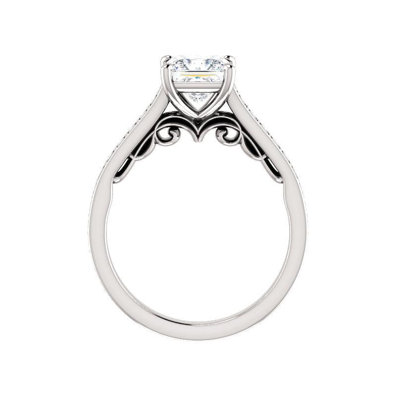 The Andrea Moissanite princess diamond engagement ring solitaire setting white gold side profile
