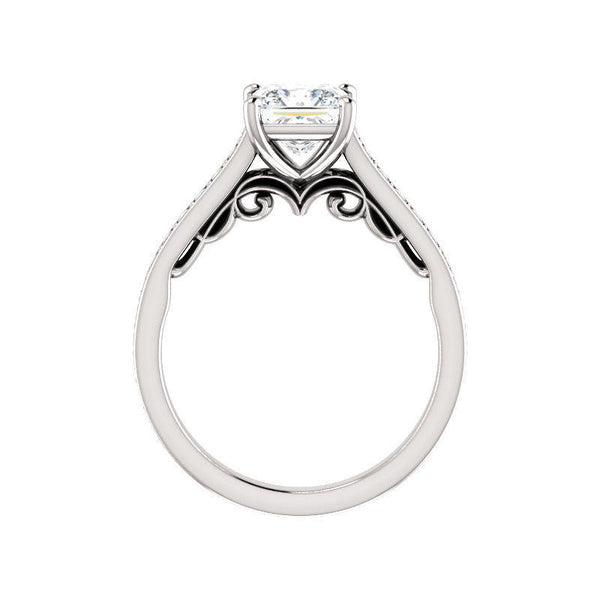 The Andrea Moissanite princess moissanite engagement ring solitaire setting white gold side profile