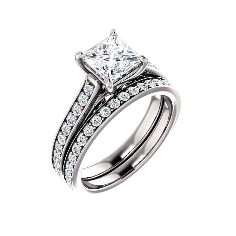 The Andrea Moissanite princess diamond engagement ring solitaire setting white gold with matching band