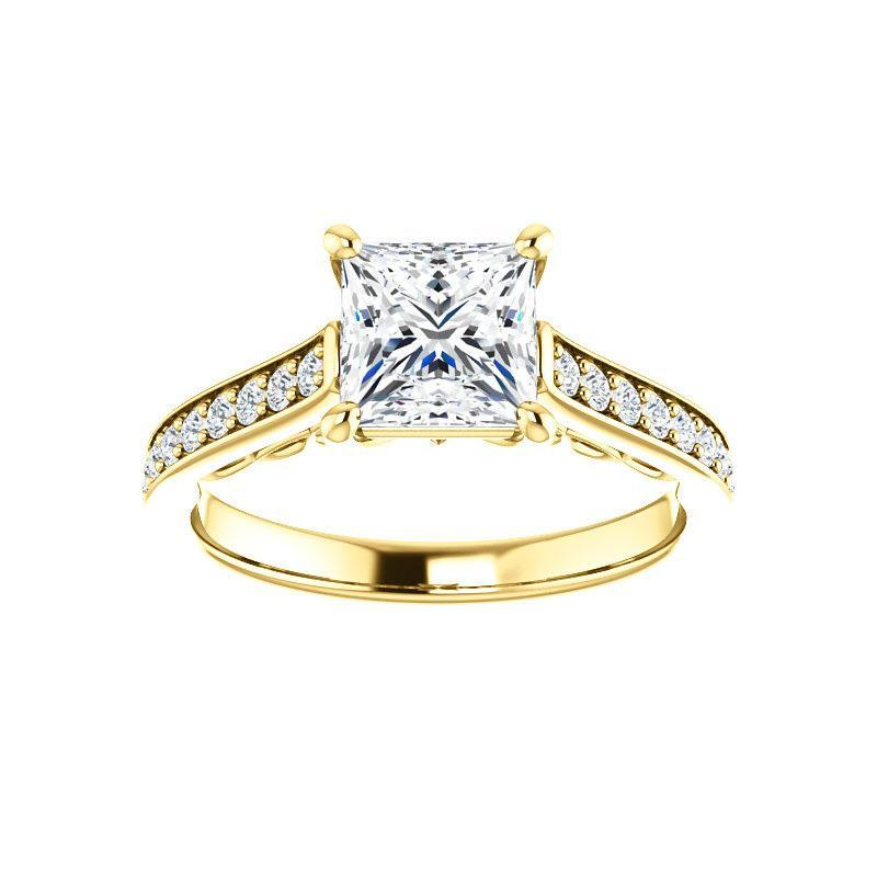 The Andrea Moissanite princess moissanite engagement ring solitaire setting yellow gold