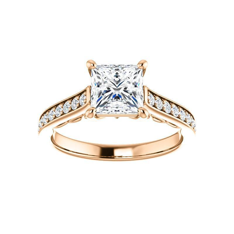 The Andrea Moissanite princess moissanite engagement ring solitaire setting rose gold