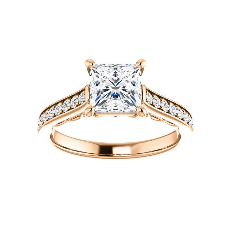 The Andrea Moissanite princess diamond engagement ring solitaire setting rose gold