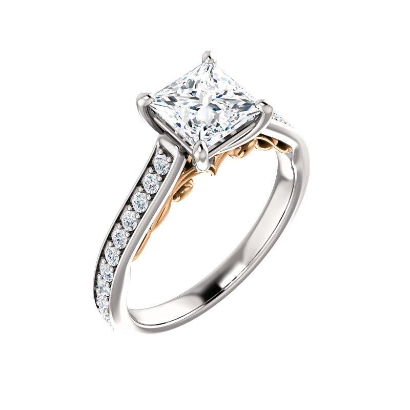 The Andrea Moissanite princess moissanite engagement ring solitaire setting white gold and rose gold accent