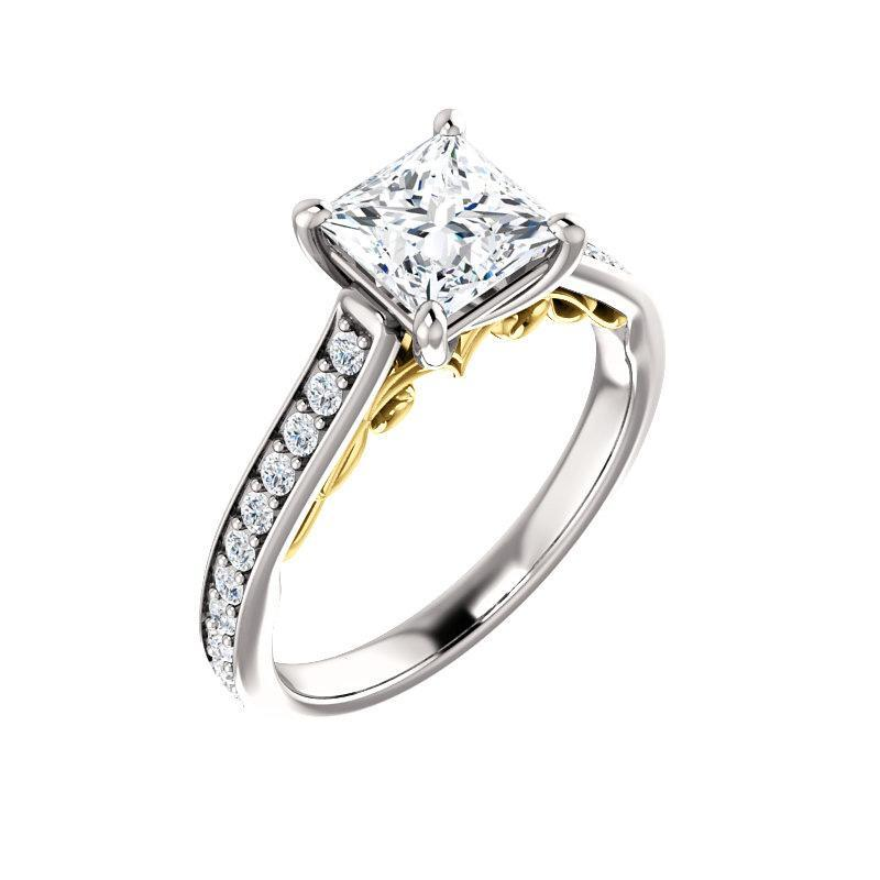 The Andrea Moissanite princess moissanite engagement ring solitaire setting white gold and yellow gold accent