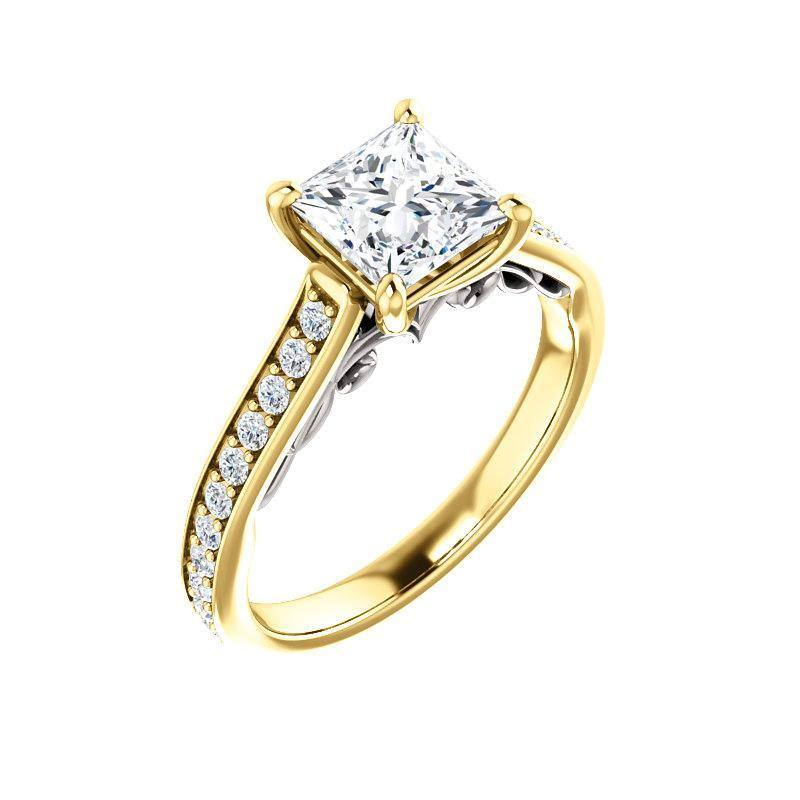 The Andrea Moissanite princess moissanite engagement ring solitaire setting yellow gold and white gold accent