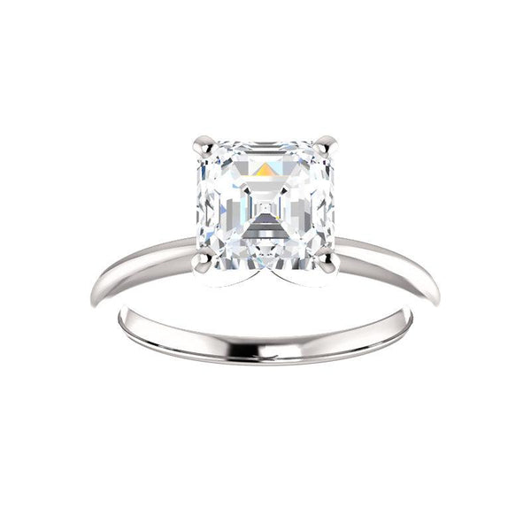 The Four Prongs Asscher Moissanite Engagement Ring Solitaire Setting White Gold