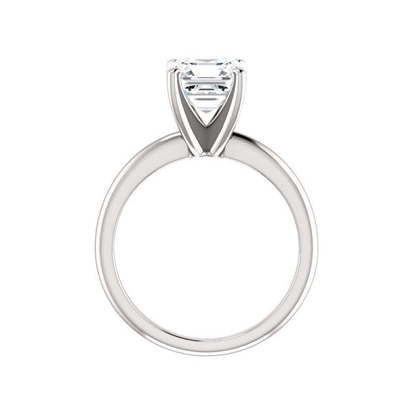 The Four Prongs Asscher Moissanite Engagement Ring Solitaire Setting White Gold Side Profile