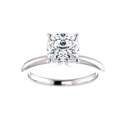 The Four Prongs Cushion Moissanite Engagement Ring Solitaire Setting White Gold