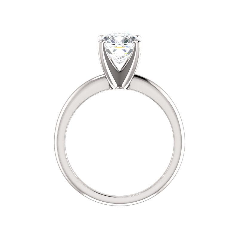 The Four Prongs Cushion Moissanite Engagement Ring Solitaire Setting White Gold Side Profile