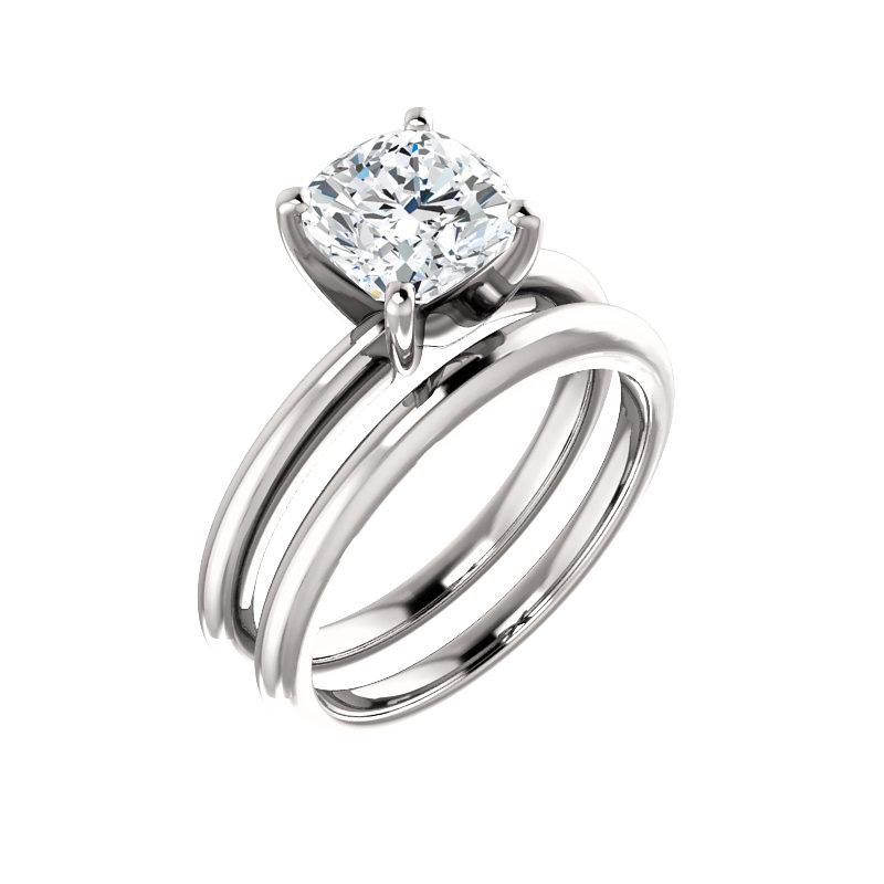 The Four Prongs Cushion Moissanite Engagement Ring Solitaire Setting White Gold With Matching Band