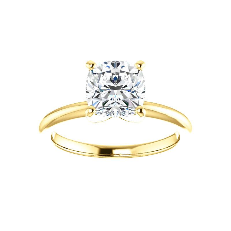 The Four Prongs Cushion Moissanite Engagement Ring Solitaire Setting Yellow Gold