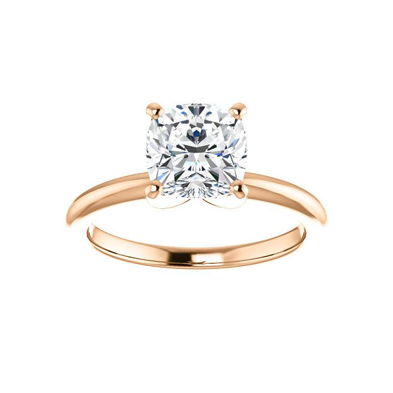 The Four Prongs Cushion Moissanite Engagement Ring Solitaire Setting Rose Gold