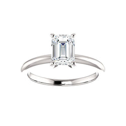 The Four Prongs Emerald Moissanite Engagement Ring Solitaire Setting White Gold