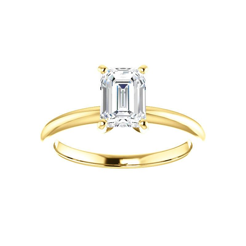 The Four Prongs Emerald Moissanite Engagement Ring Solitaire Setting Yellow Gold