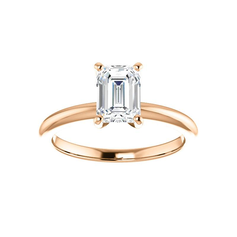 The Four Prongs Emerald Moissanite Engagement Ring Solitaire Setting Rose Gold