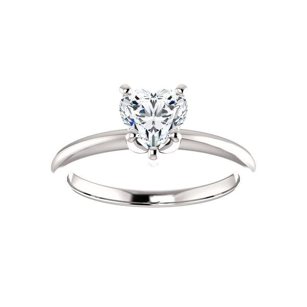 The Four Prongs Heart Moissanite Engagement Ring Solitaire Setting White Gold
