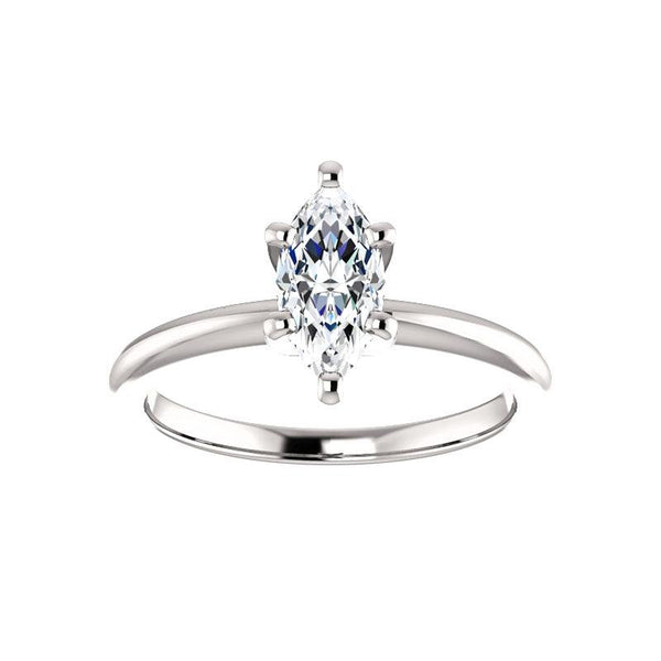 The Four Prongs Marquise Moissanite Engagement Ring Solitaire Setting White Gold