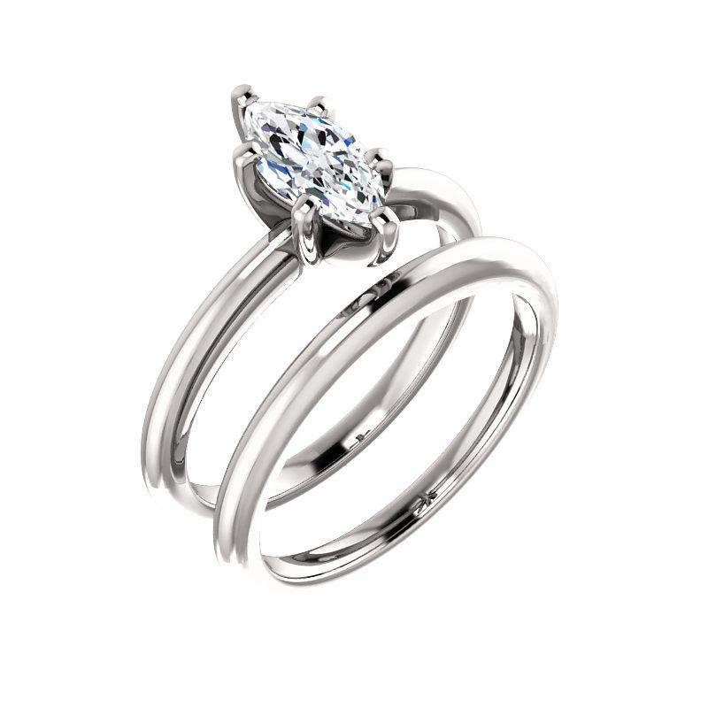 The Four Prongs Marquise Moissanite Engagement Ring Solitaire Setting White Gold With Matching Band