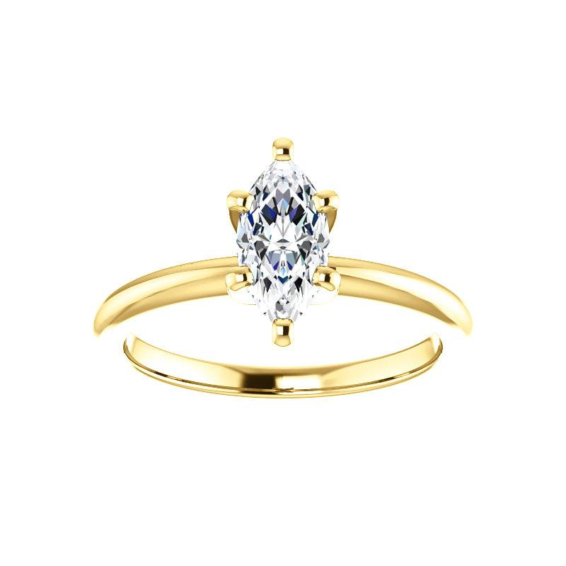 The Four Prongs Marquise Moissanite Engagement Ring Solitaire Setting Yellow Gold