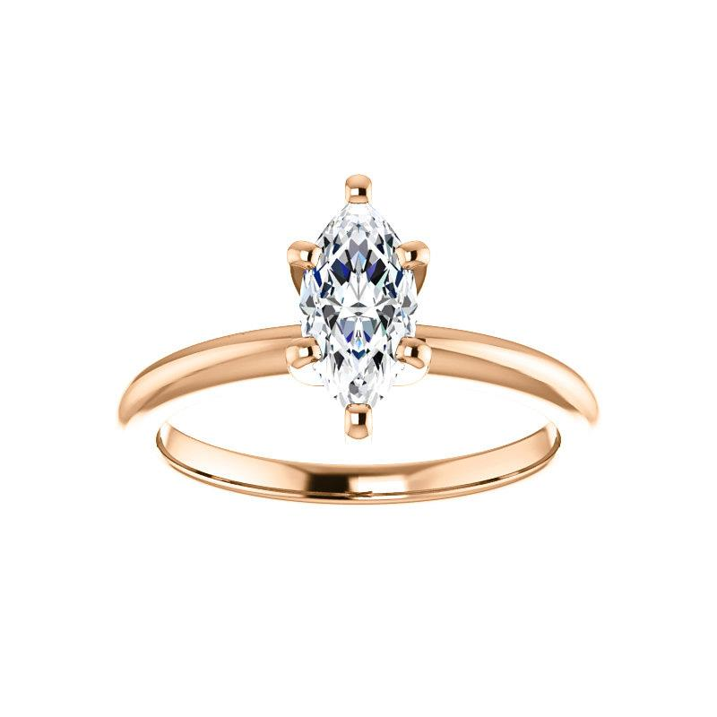 The Four Prongs Marquise Moissanite Engagement Ring Solitaire Setting Rose Gold