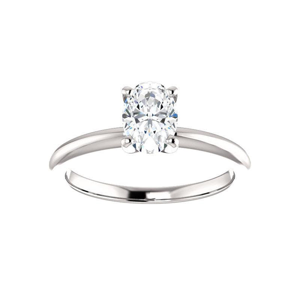 The Four Prongs Oval Moissanite Engagement Ring Solitaire Setting White Gold
