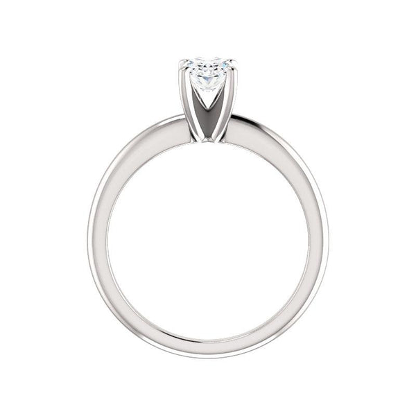 The Four Prongs Oval Moissanite Engagement Ring Solitaire Setting White Gold Side Profile