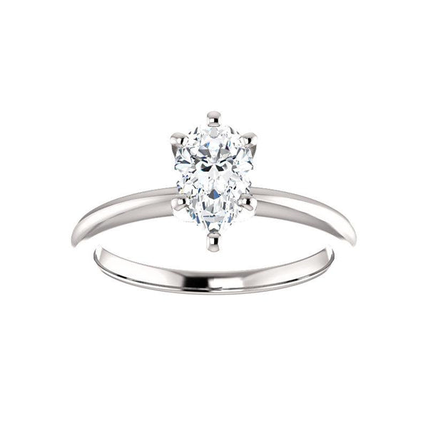 The Four Prongs Pear Moissanite Engagement Ring Solitaire Setting White Gold